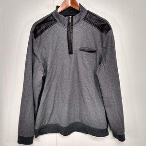 Calvin Klein Mens Large Black Gray Sweater 1/4 Zip